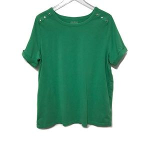 Lane Bryant green cuffed short sleeve shirt 18/20